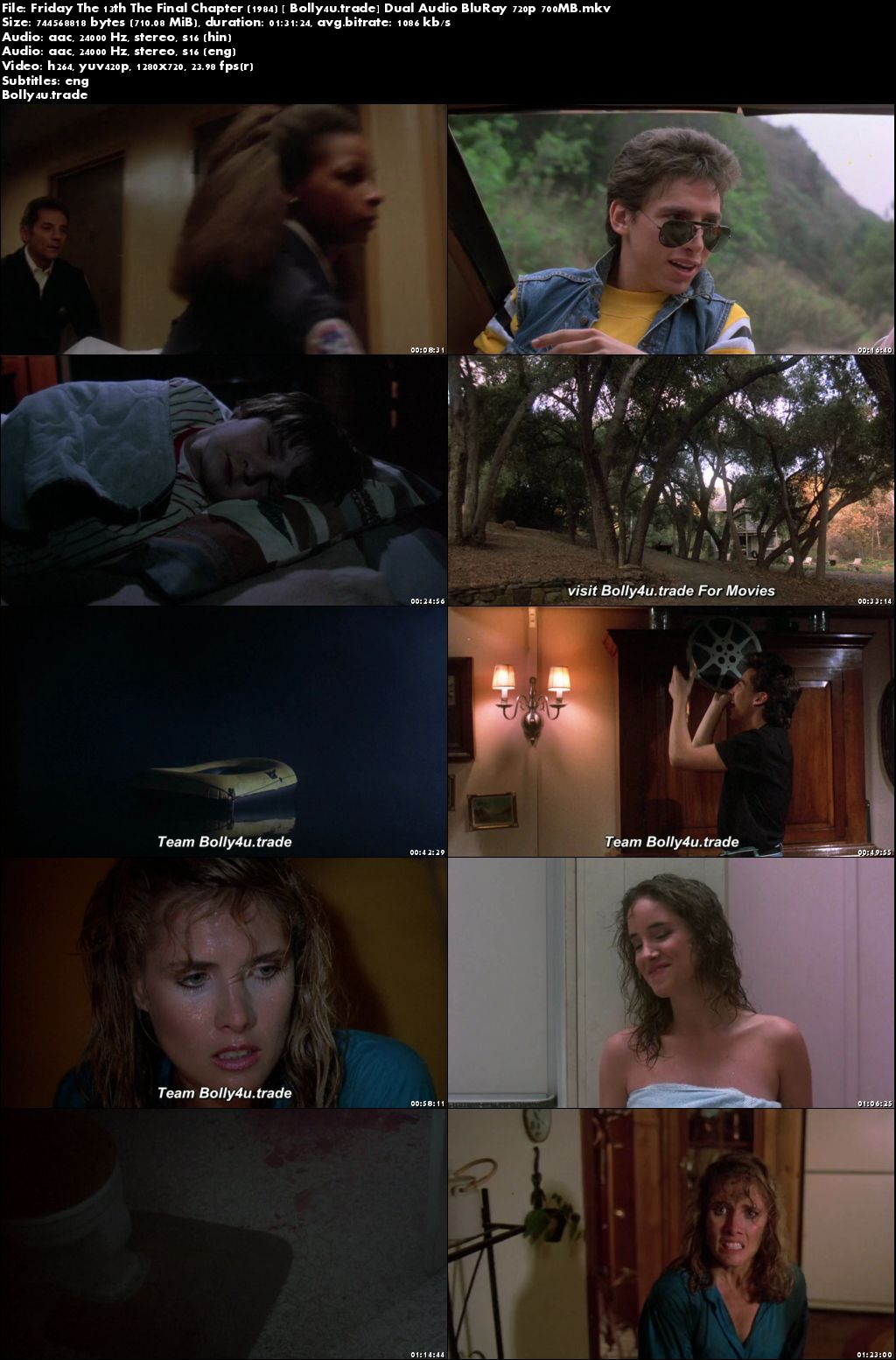 Friday The 13th The Final Chapter 1984 BRRip 700Mb Hindi Dual Audio 720p Download