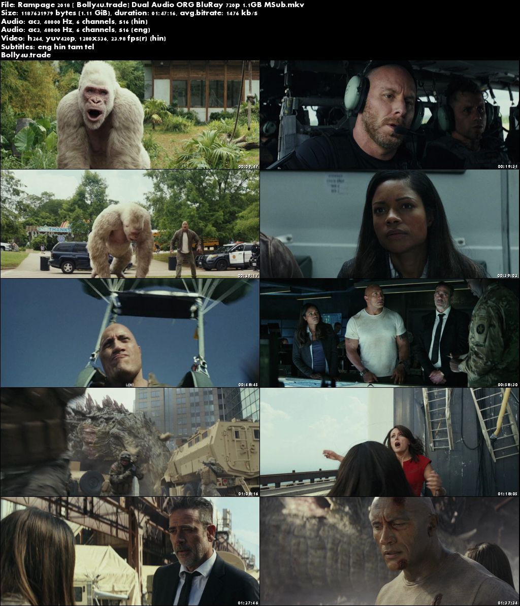 Rampage 2018 BluRay Hindi Dubbed Dual Audio ORG 720p ESub Download