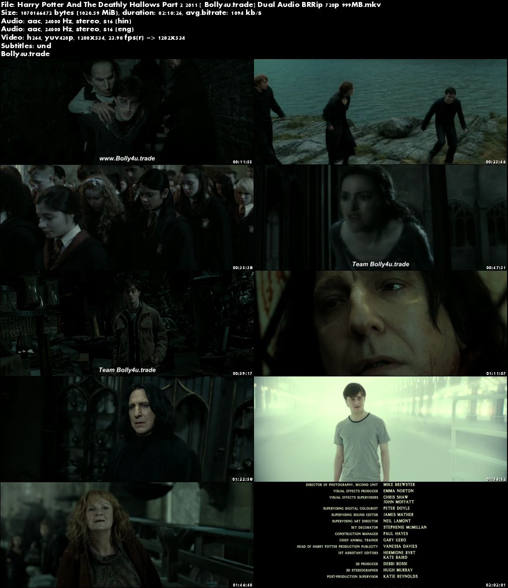 Harry Potter And The Deathly Hallows Part 2 2011 BRRip 999Mb Hindi Dual Audio 720p Download