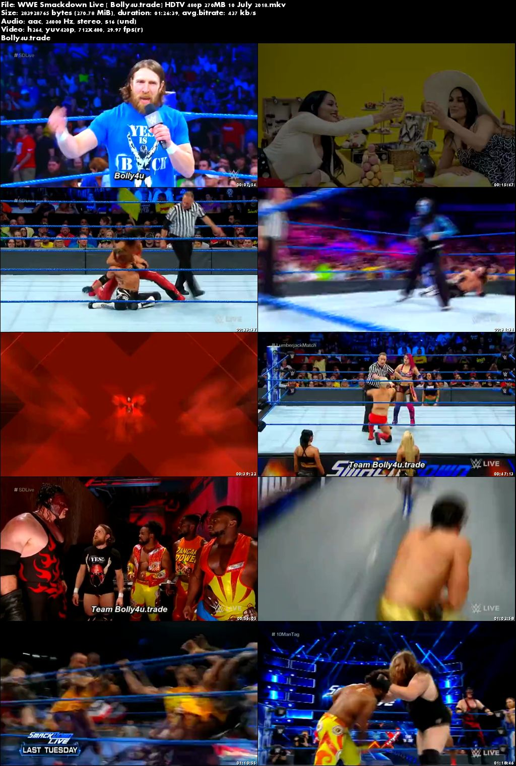 WWE Smackdown Live HDTV 480p 270MB 10 July 2018 Download