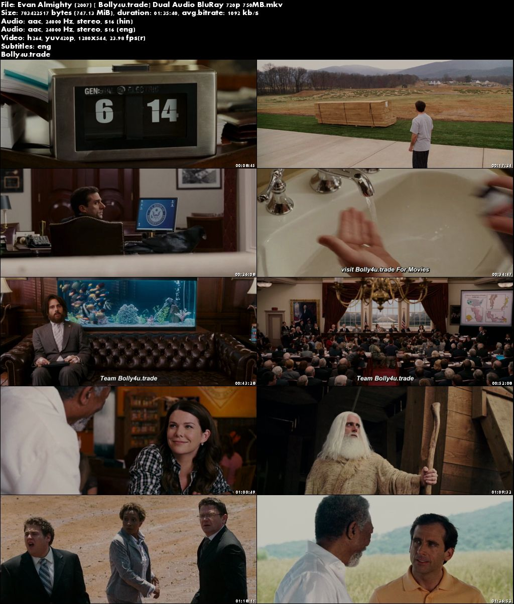 Evan Almighty 2007 BluRay 300Mb Hindi Dual Audio 480p Download