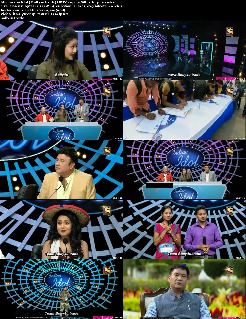 Indian Idol 2018 HDTV 480p 200MB 14 July 2018 Download