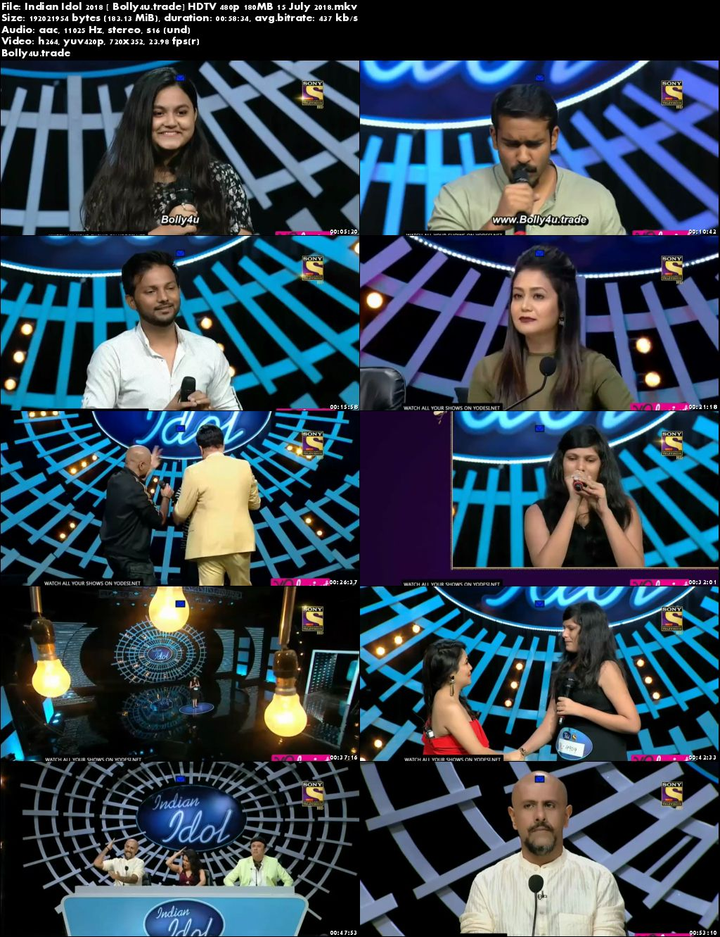 Indian Idol 2018 HDTV 480p 180MB 15 July 2018 Download