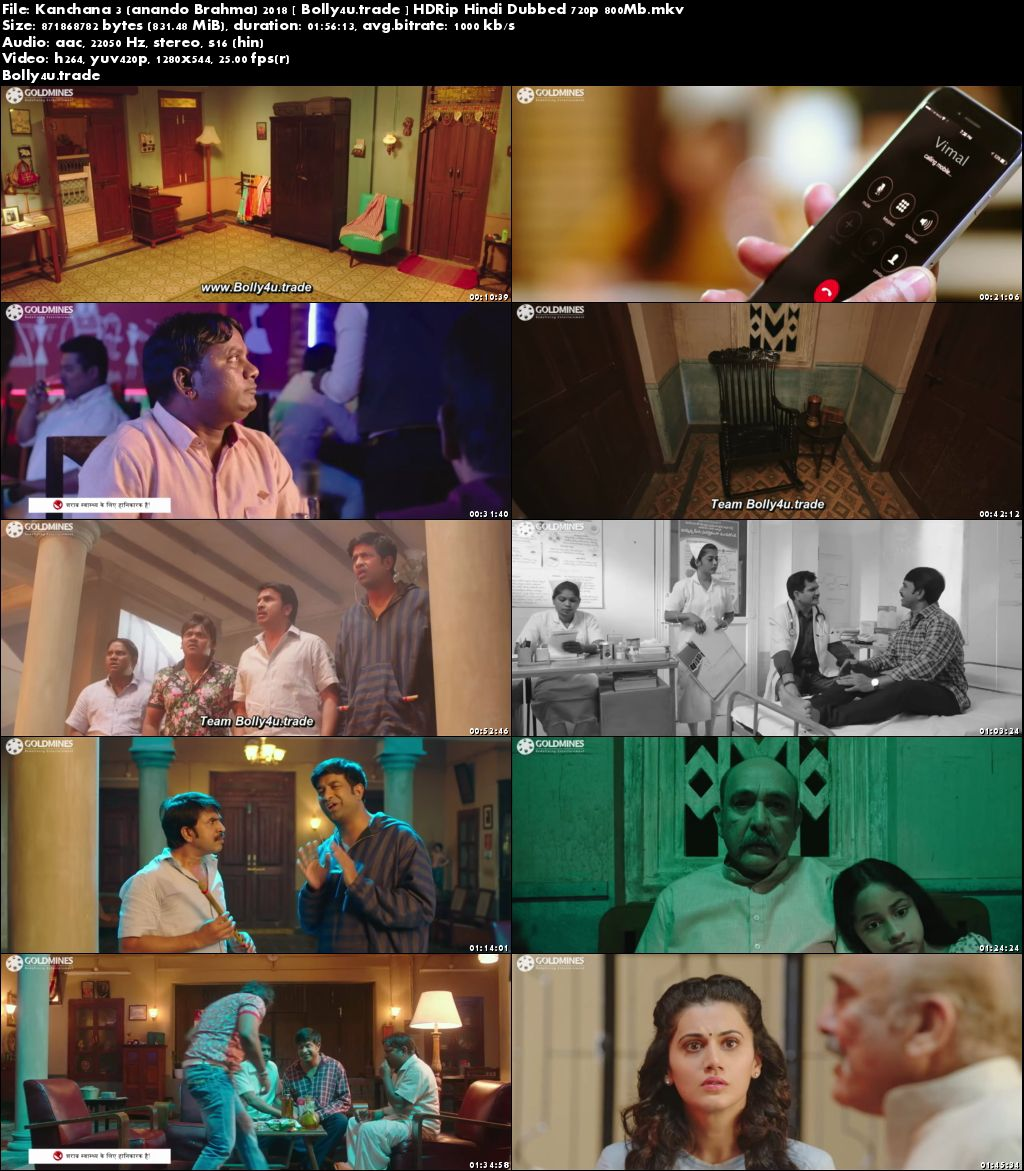 Kanchana 3 2018 HDRip 350MB Full Hindi Dubbed Movie Download 480p