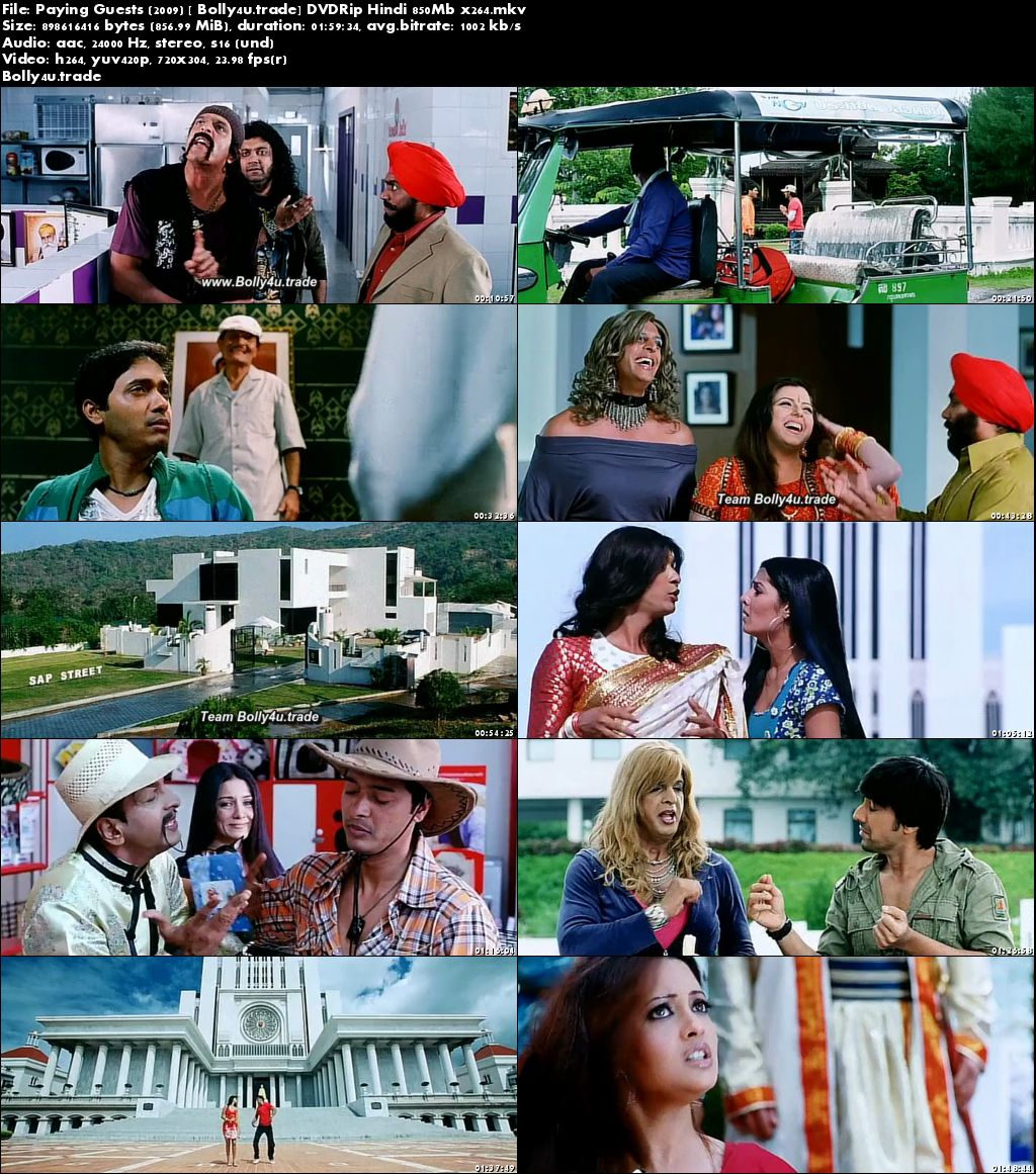Paying Guests 2009 DTHRip 850Mb Full Hindi Movie Download x264