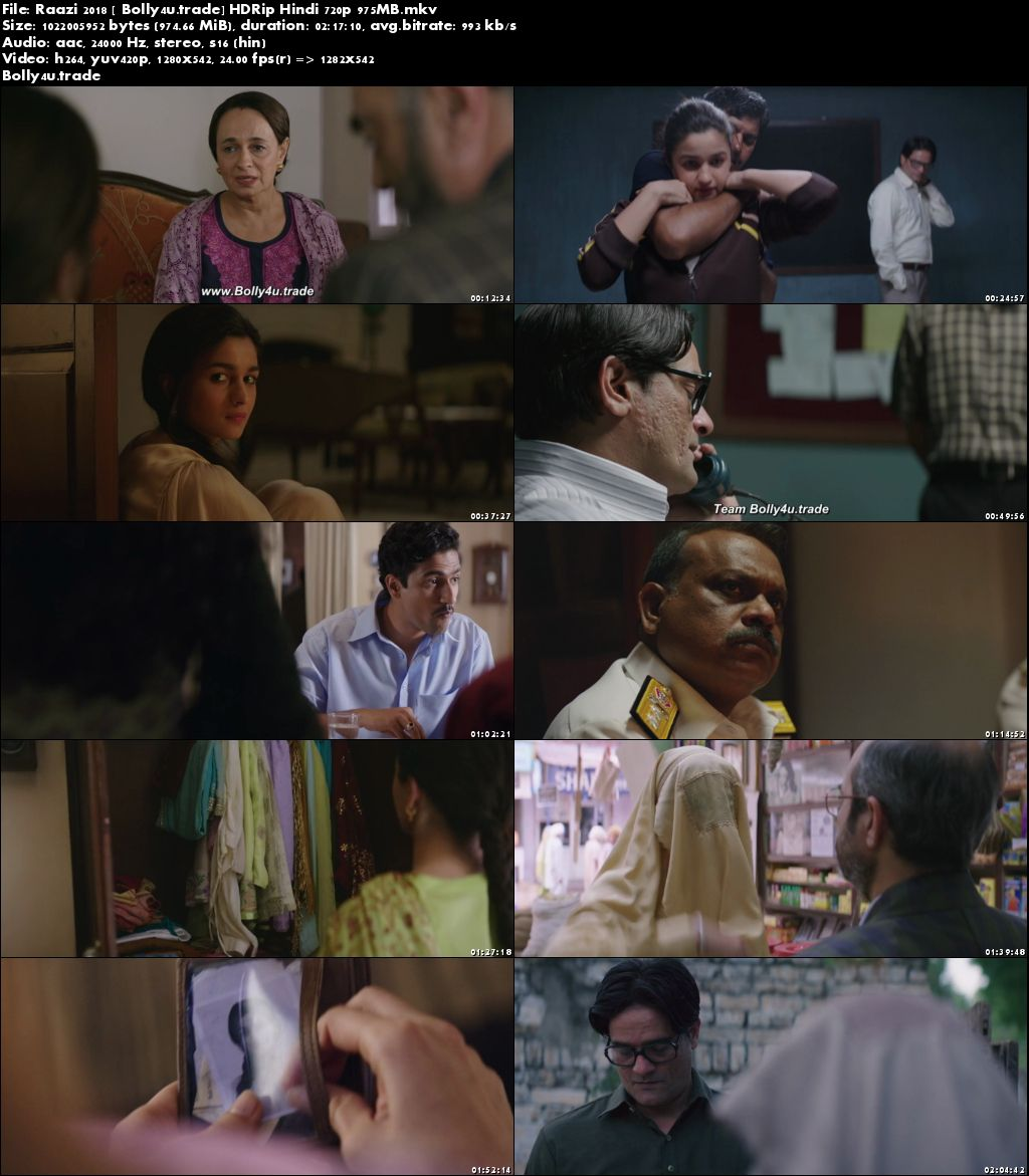 Raazi 2018 HDRip 950Mb Full Hindi Movie Download 720p