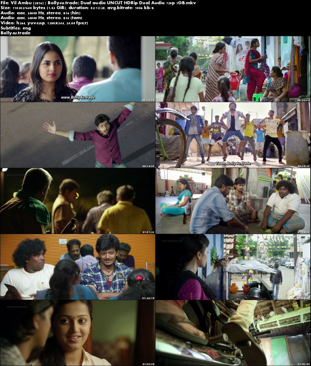 Vil Ambu 2016 HDRip 1Gb UNCUT Hindi Dubbed Dual Audio 720p Download