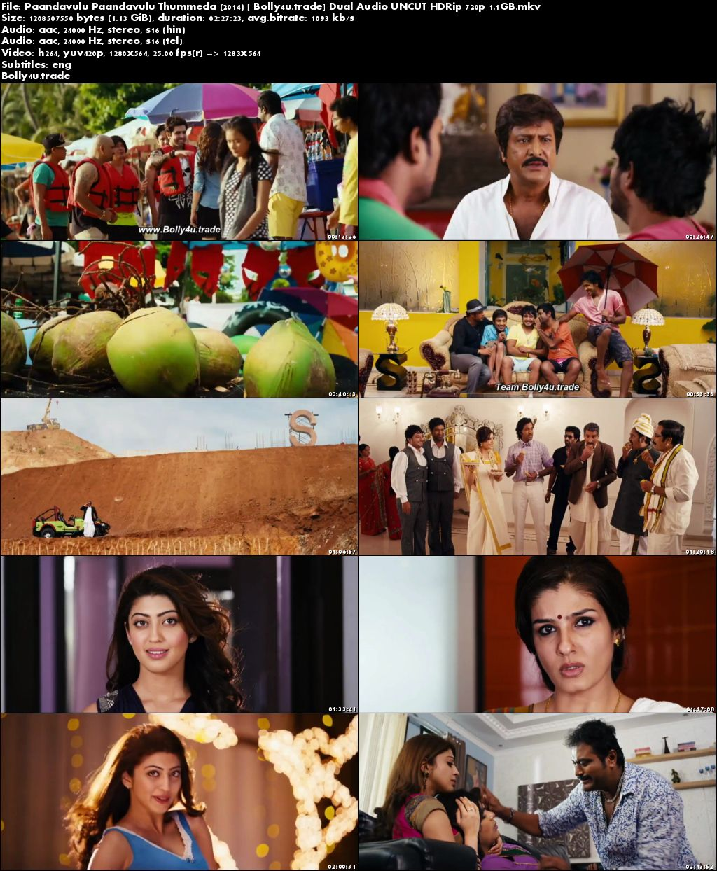 Paandavulu Paandavulu Thummeda 2014 HDRip 450MB UNCUT Hindi Dual Audio 480p Download