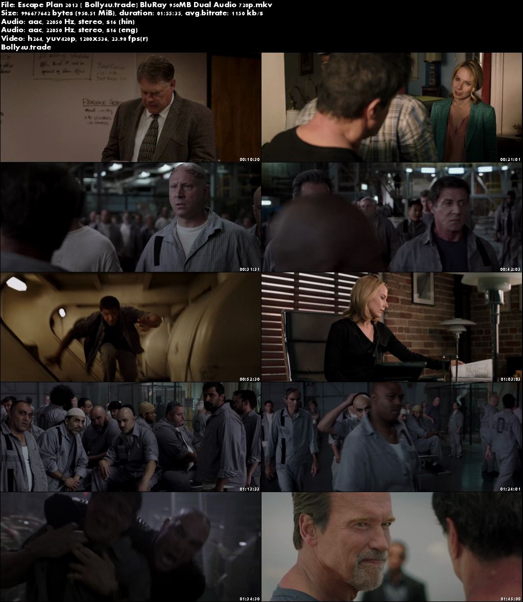 Escape Plan 2013 BluRay 950MB Hindi Dubbed Dual Audio 720p Download