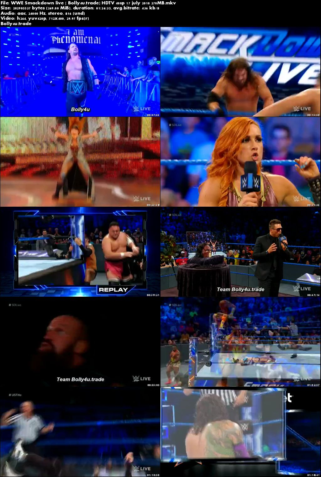 WWE Smackdown Live HDTV 250MB 480p 17 July 2018 Download