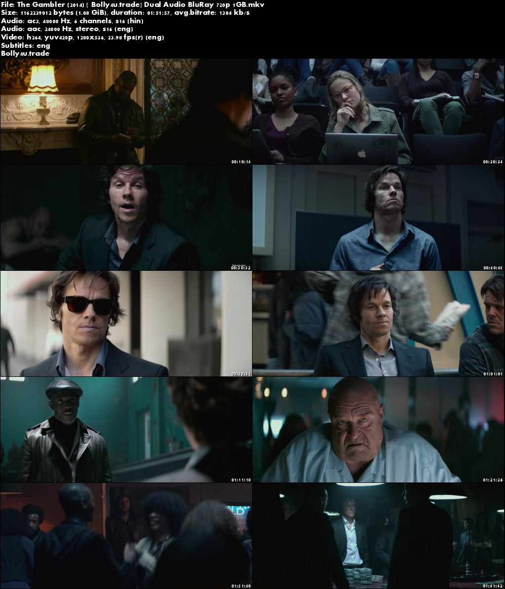 The Gambler 2014 BluRay 1GB Hindi Dubbed Dual Audio 720p ESub Download