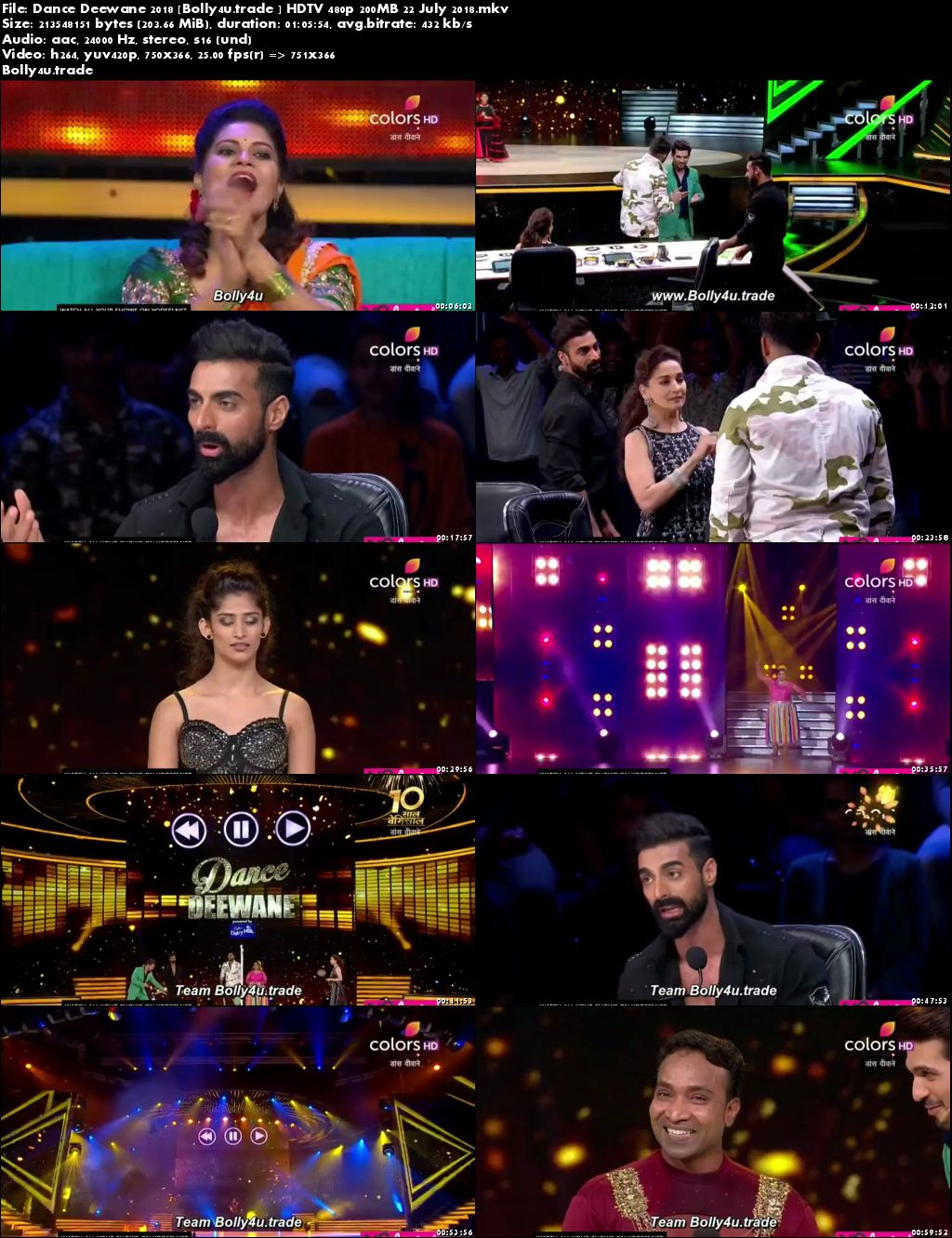 Dance Deewane 2018 HDTV 480p 200MB 22 July 2018 Download