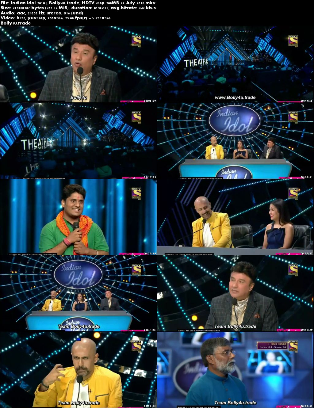 Indian Idol 2018 HDTV 480p 200MB 22 July 2018 Download