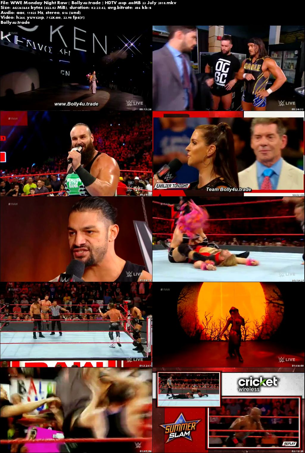 WWE Monday Night Raw HDTV 480p 400MB 23 July 2018 Download