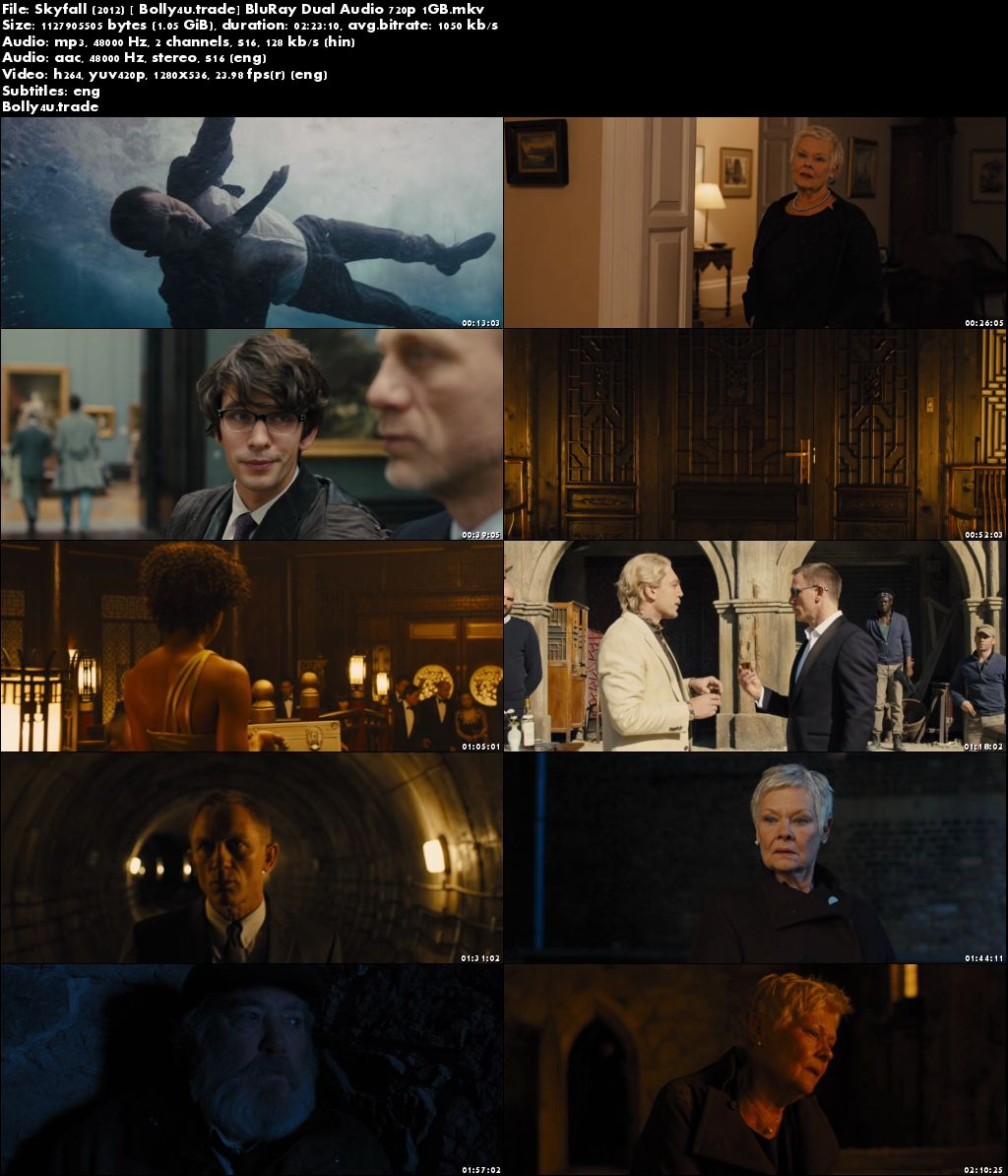 Skyfall 2012 BluRay 1GB Hindi Dubbed Dual Audio 720p ESub Download