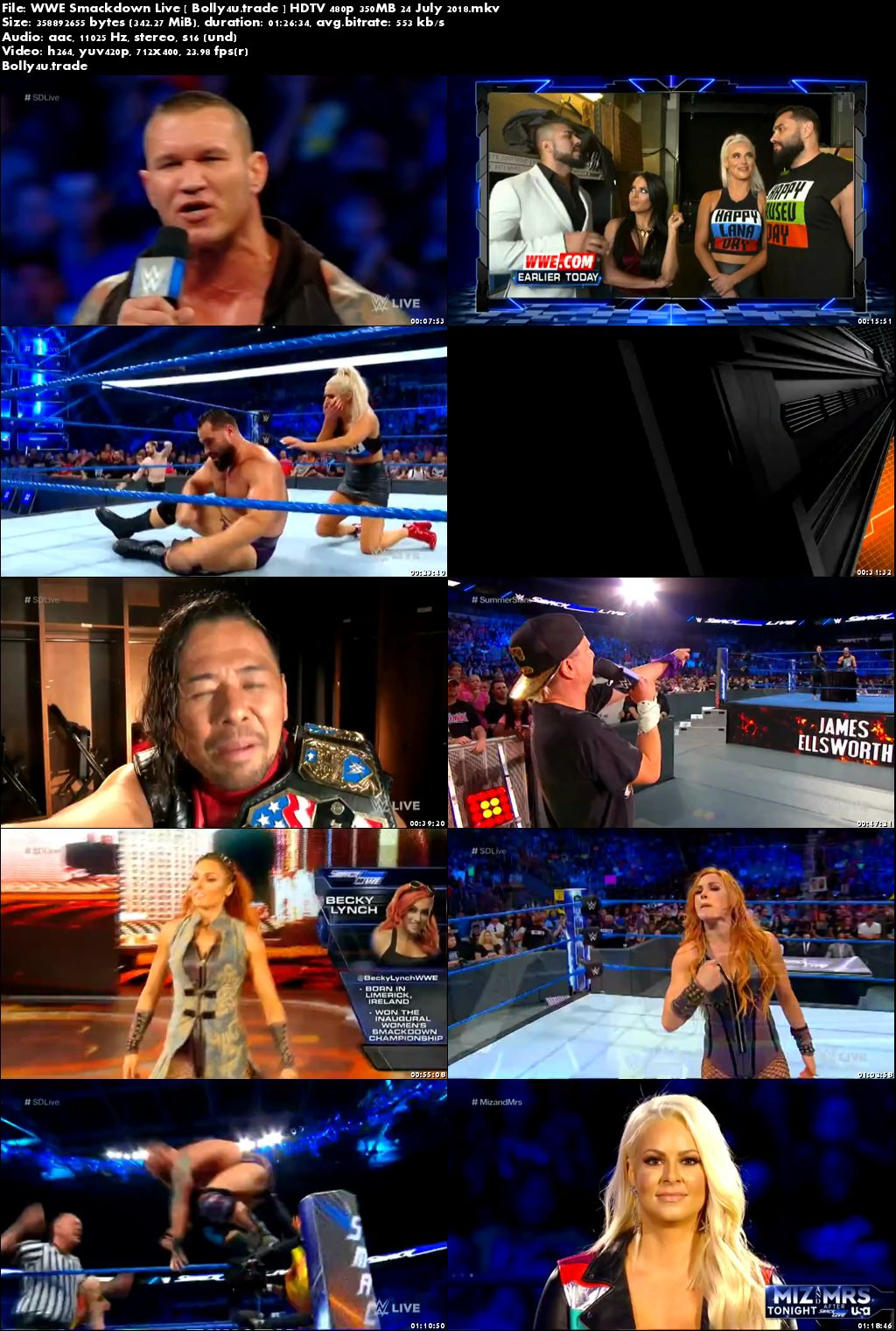 WWE Smackdown Live HDTV 480p 350MB 24 July 2018 Download