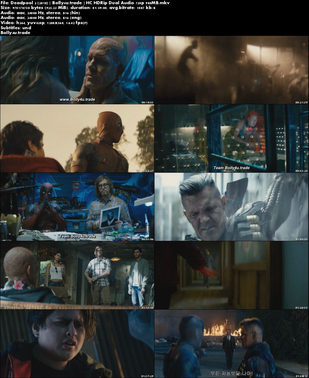 Deadpool 2 2018 HC HDRip 900MB Hindi Dubbed Dual Audio 720p Download