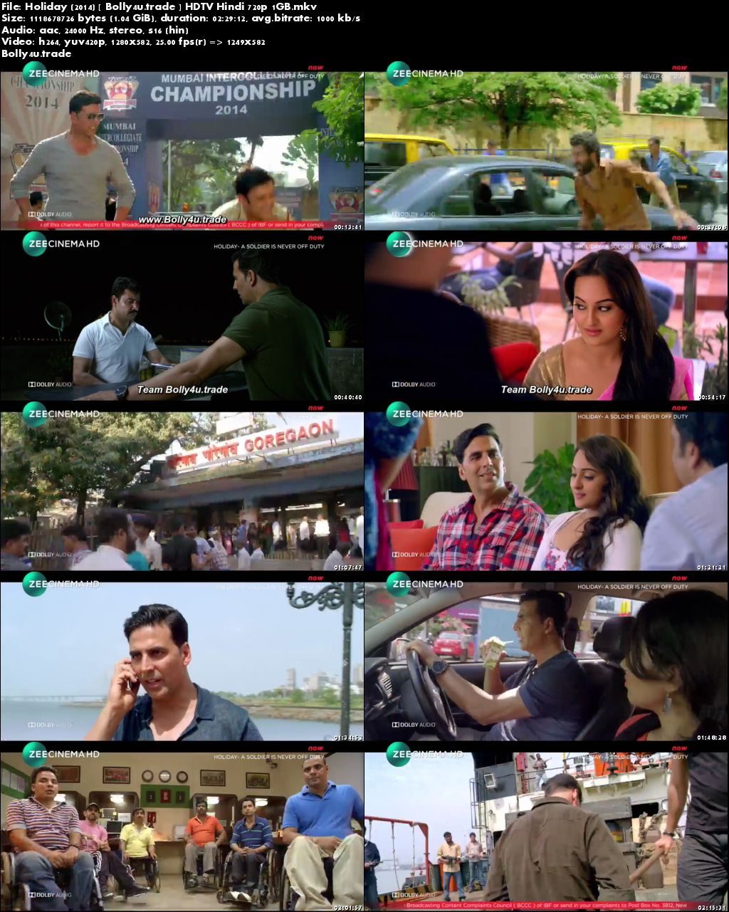 Holiday 2014 HDTV 1Gb Full Hindi Movie Download 720p