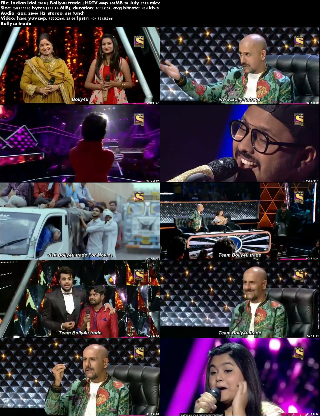 Indian Idol 2018 HDTV 480p 200MB 28 July 2018 Download