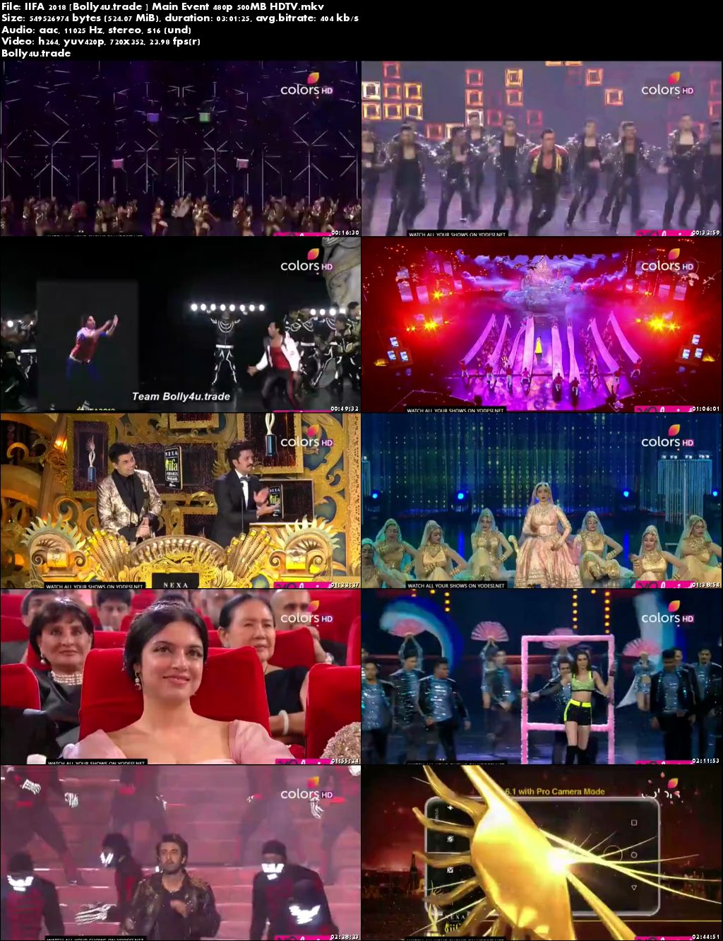IIFA 2018 HDTV 500MB 480p Main Event Download