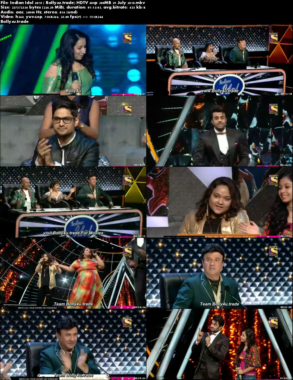 Indian Idol 2018 HDTV 480p 200MB 29 July 2018 Download