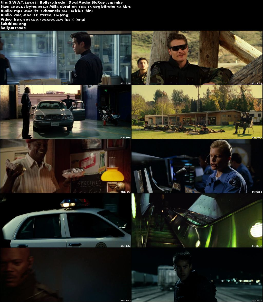 S.W.A.T. 2003 BluRay 800MB Hindi Dubbed Dual Audio 720p ESub Download