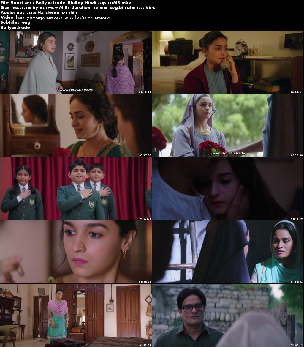 Raazi 2018 BluRay 999MB Full Hindi Movie Download 720p ESub Download