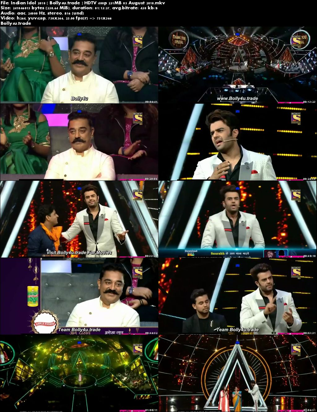 Indian Idol 2018 HDTV 480p 200MB 05 August 2018 Download