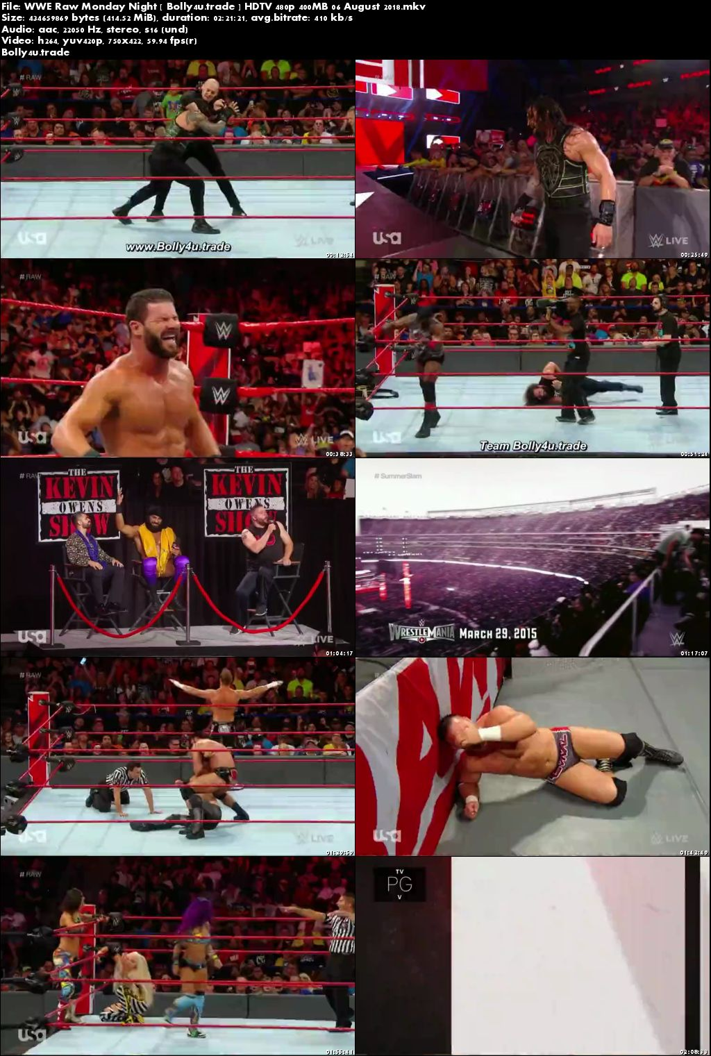 WWE Raw Monday Night HDTV 480p 400MB 06 August 2018 Download