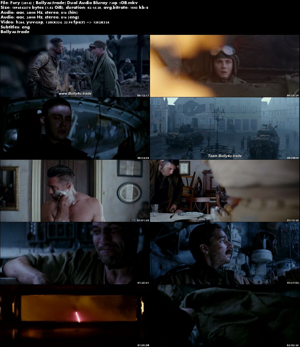Fury 2014 BluRay 1GB Hindi Dubbed Dual Audio ORG 720p Download