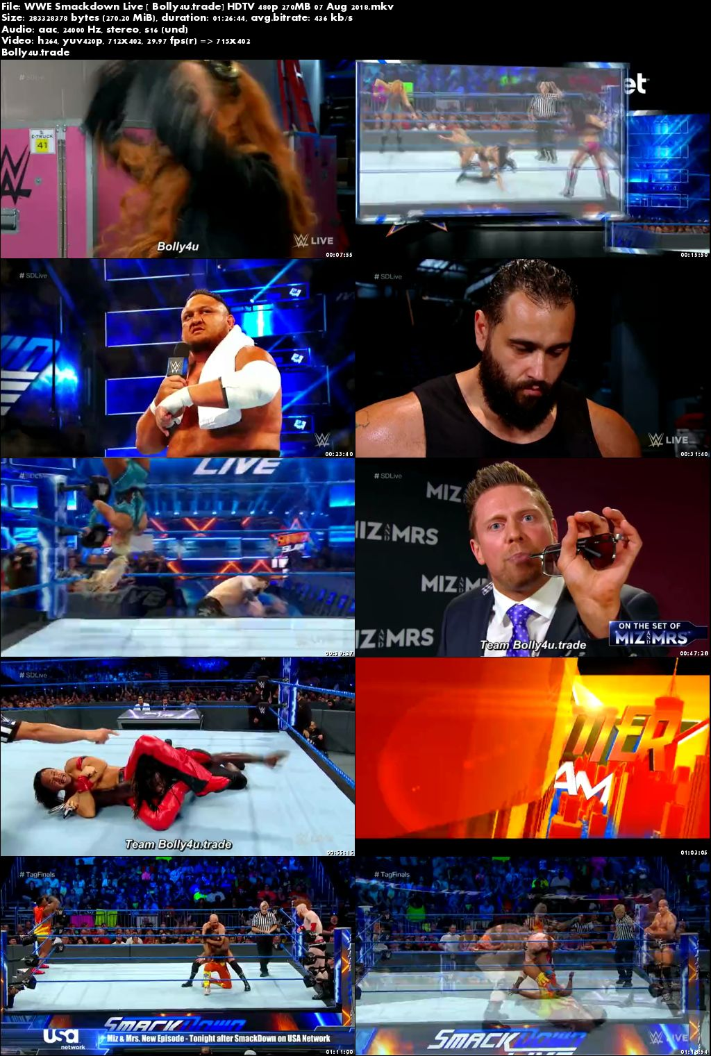 WWE Smackdown Live HDTV 480p 270MB 07 August 2018 Download