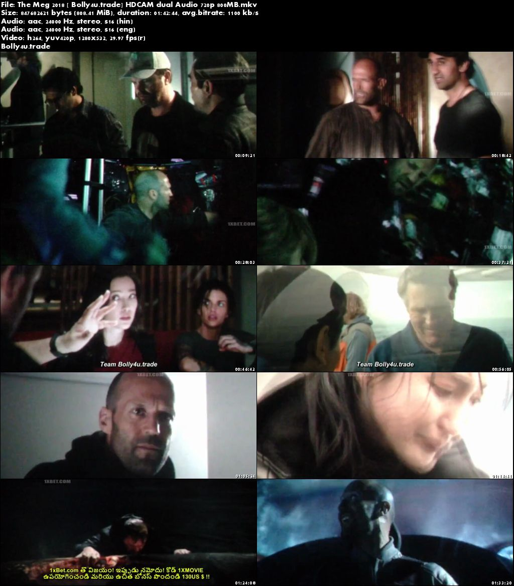 The Meg 2018 HDCAM 800Mb Full Hindi Dual Audio Movie Download 720p