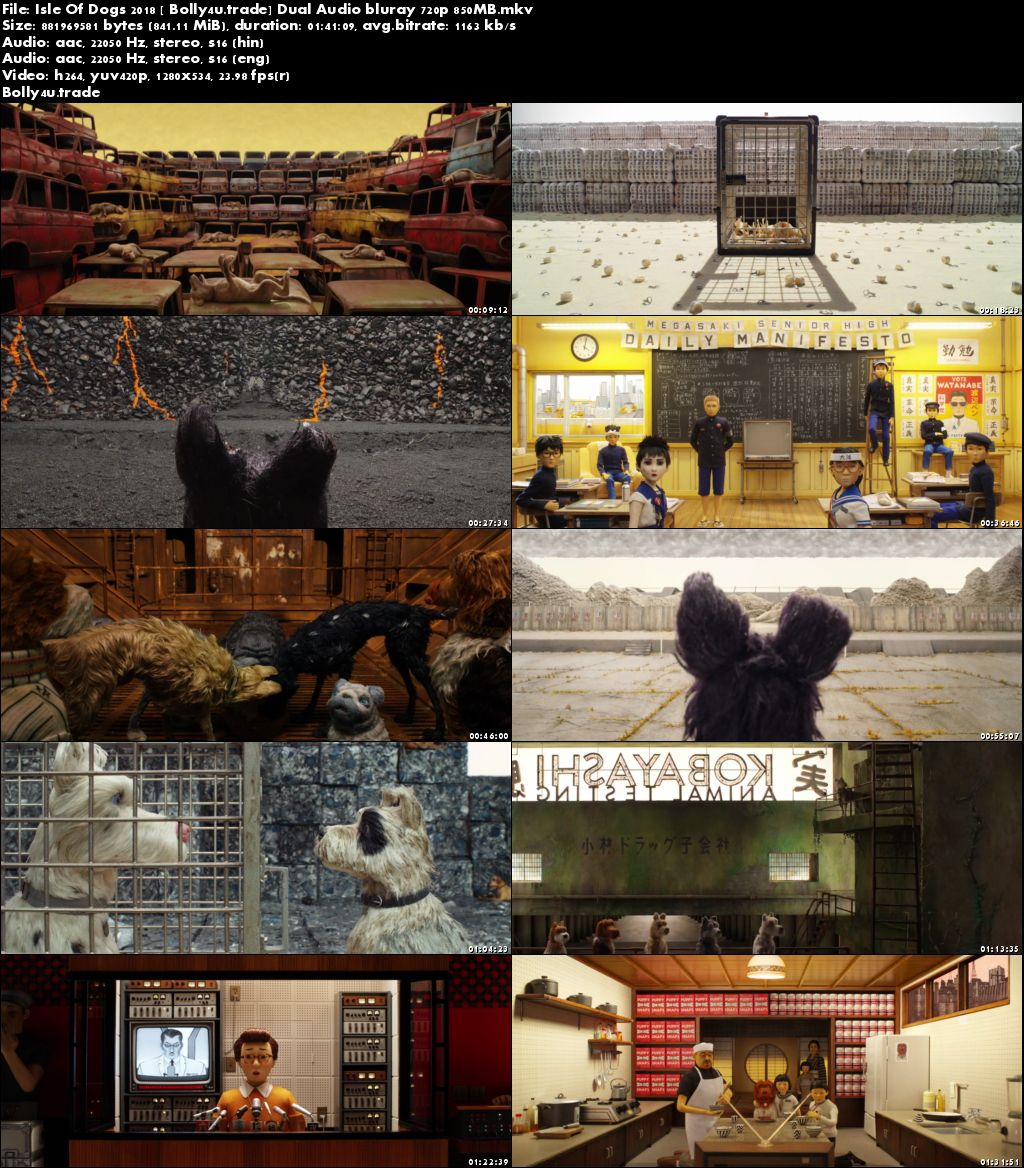 Isle Of Dogs 2018 BluRay 850MB Full Hindi Dual Audio Movie Download 720p