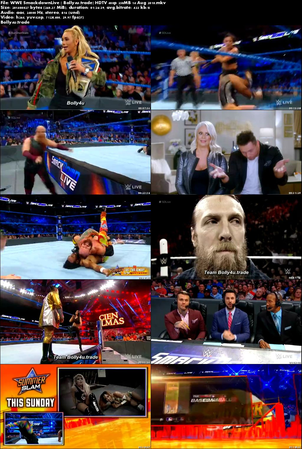 WWE Smackdown Live HDTV 480p 250MB 14 Aug 2018 Download