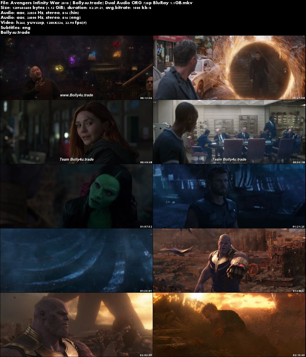 Avengers Infinity War 2018 BluRay 1GB Hindi Dubbed Dual Audio ORG 720p ESub Download