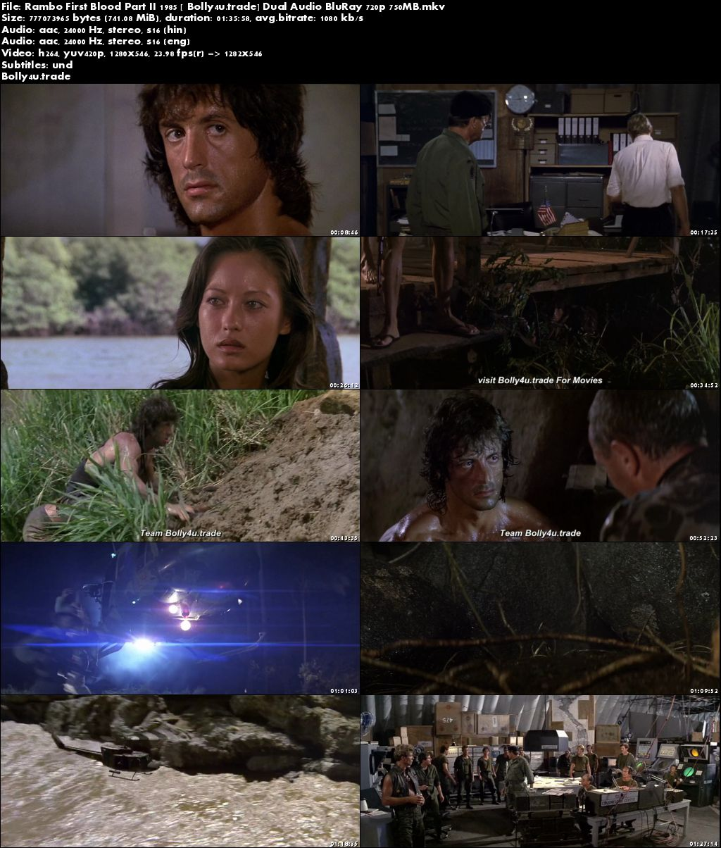 Rambo First Blood Part II 1985 BluRay 750MB Hindi Dual Audio 720p Download