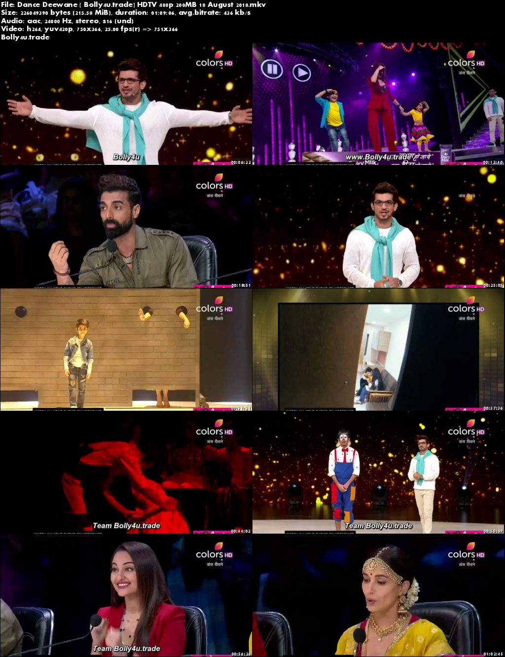 Dance Deewane HDTV 480p 200MB 18 August 2018 Download