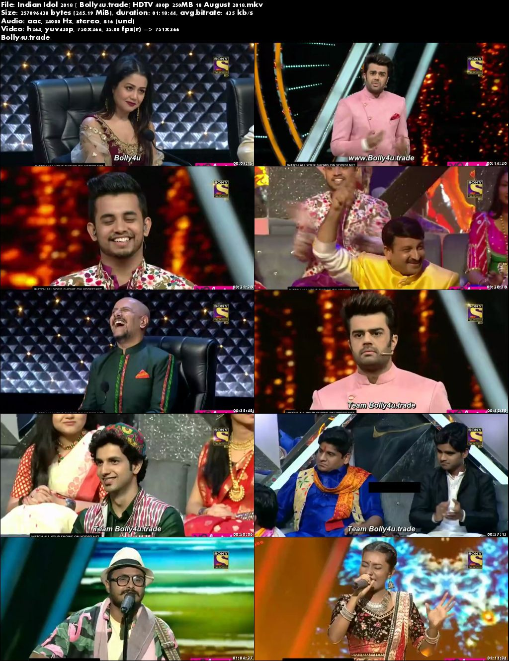 Indian Idol 2018 HDTV 480p 250MB 18 August 2018 Download