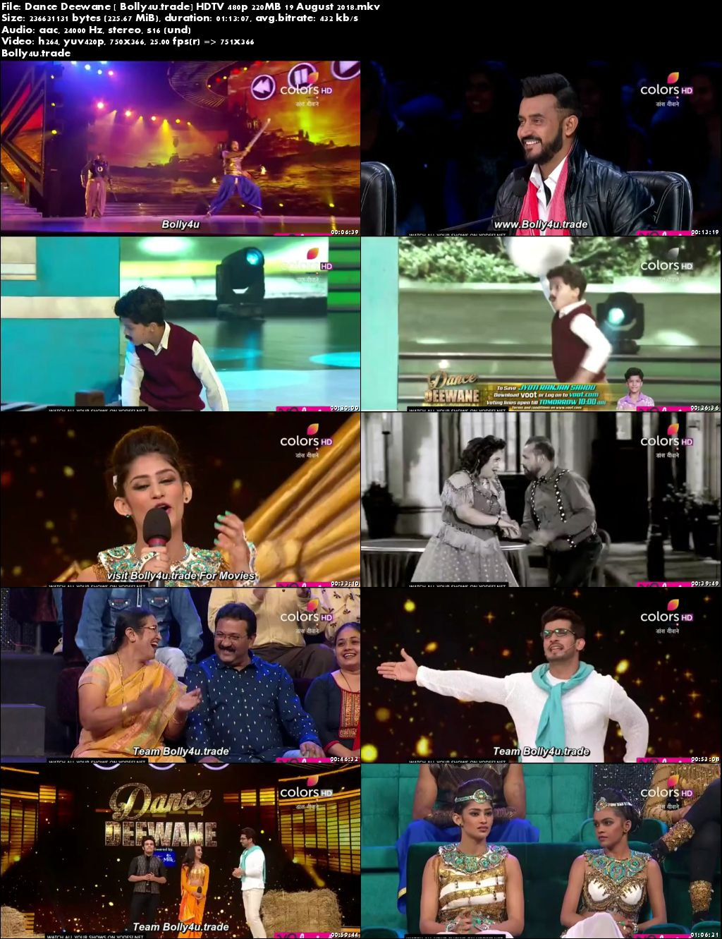 Dance Deewane HDTV 480p 200MB 19 August 2018 Download