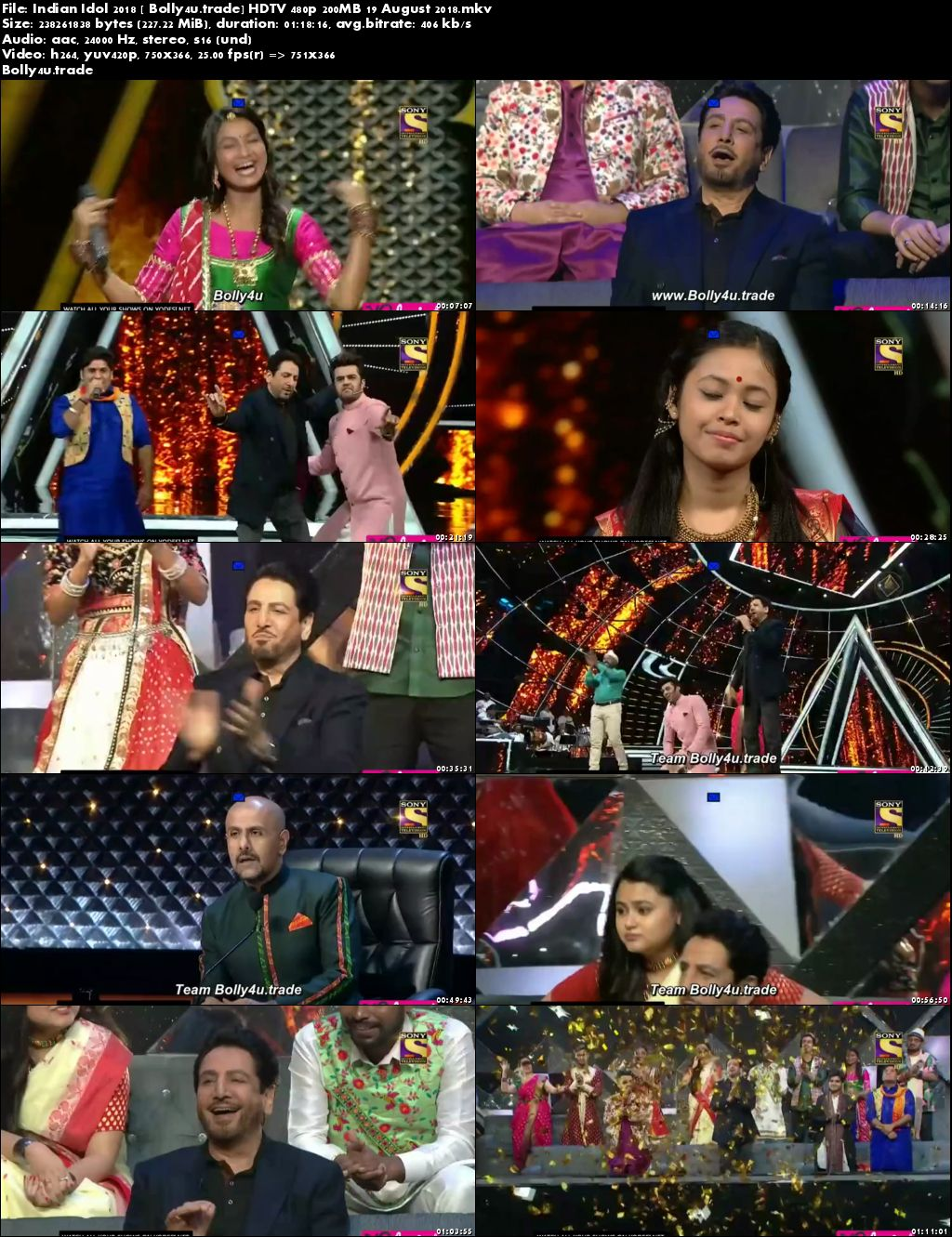 Indian Idol 2018 HDTV 480p 200MB 19 August 2018 Download