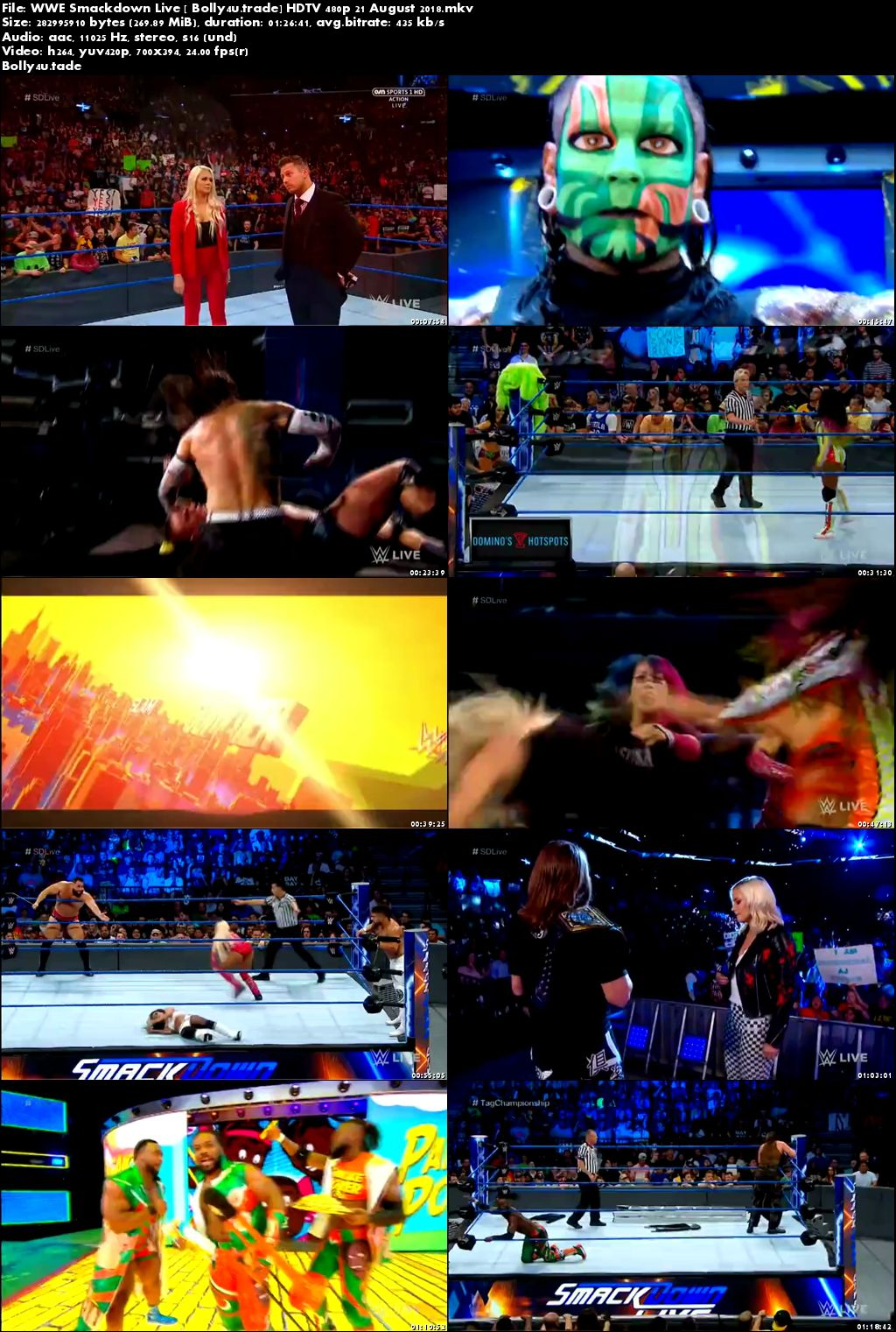 WWE Smackdown Live HDTV 480p 270Mb 21 August 2018 Download