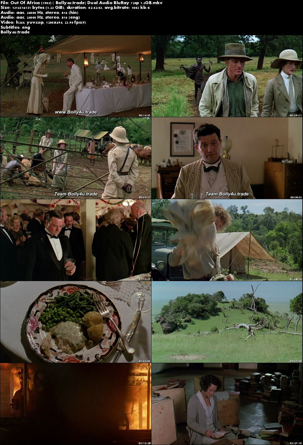 Out Of Africa 1985 BluRay 500MB Hindi Dubbed Dual Audio 480p Download