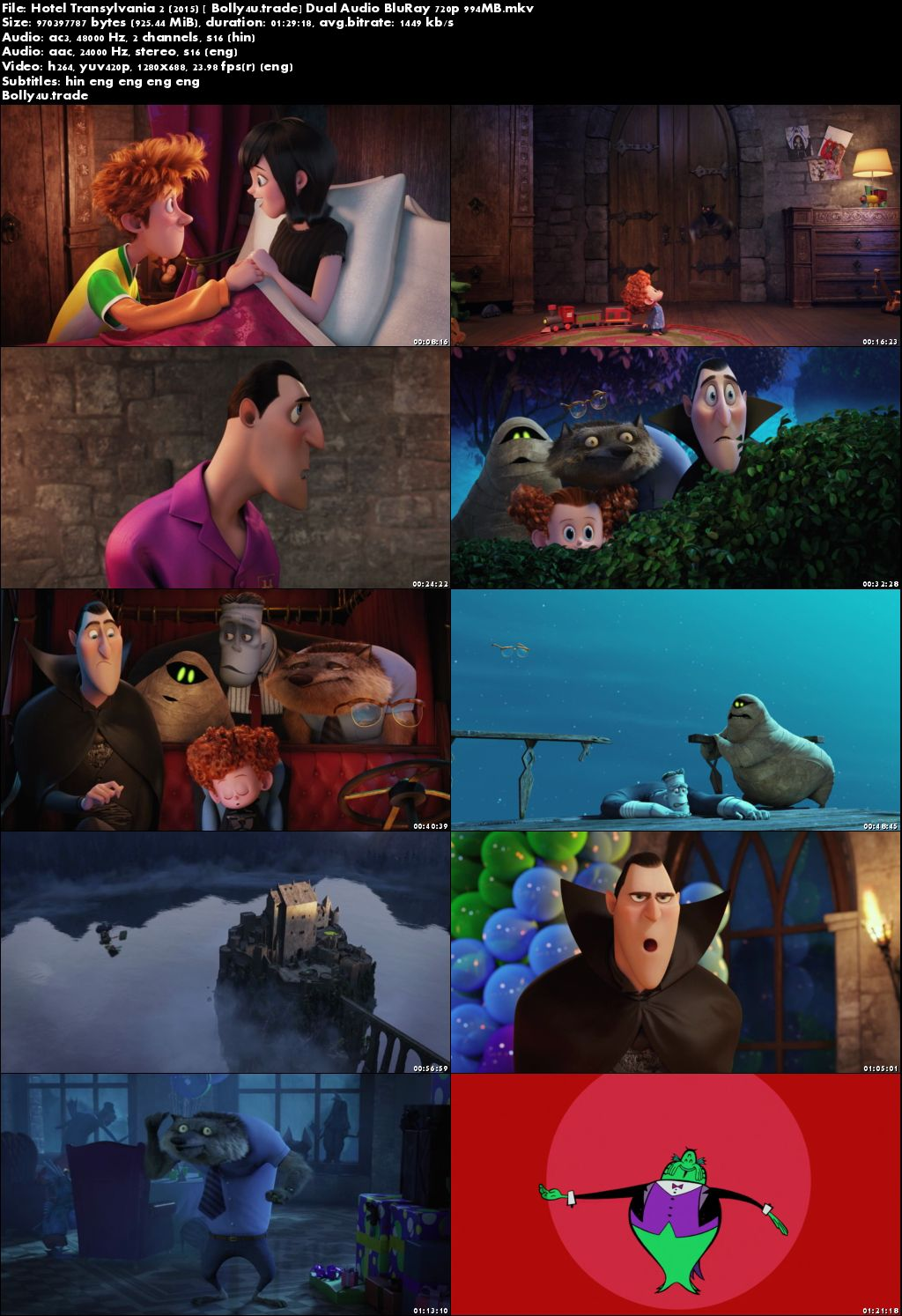 Hotel Transylvania 2 2015 BluRay 300MB Hindi Dual Audio 480p Download