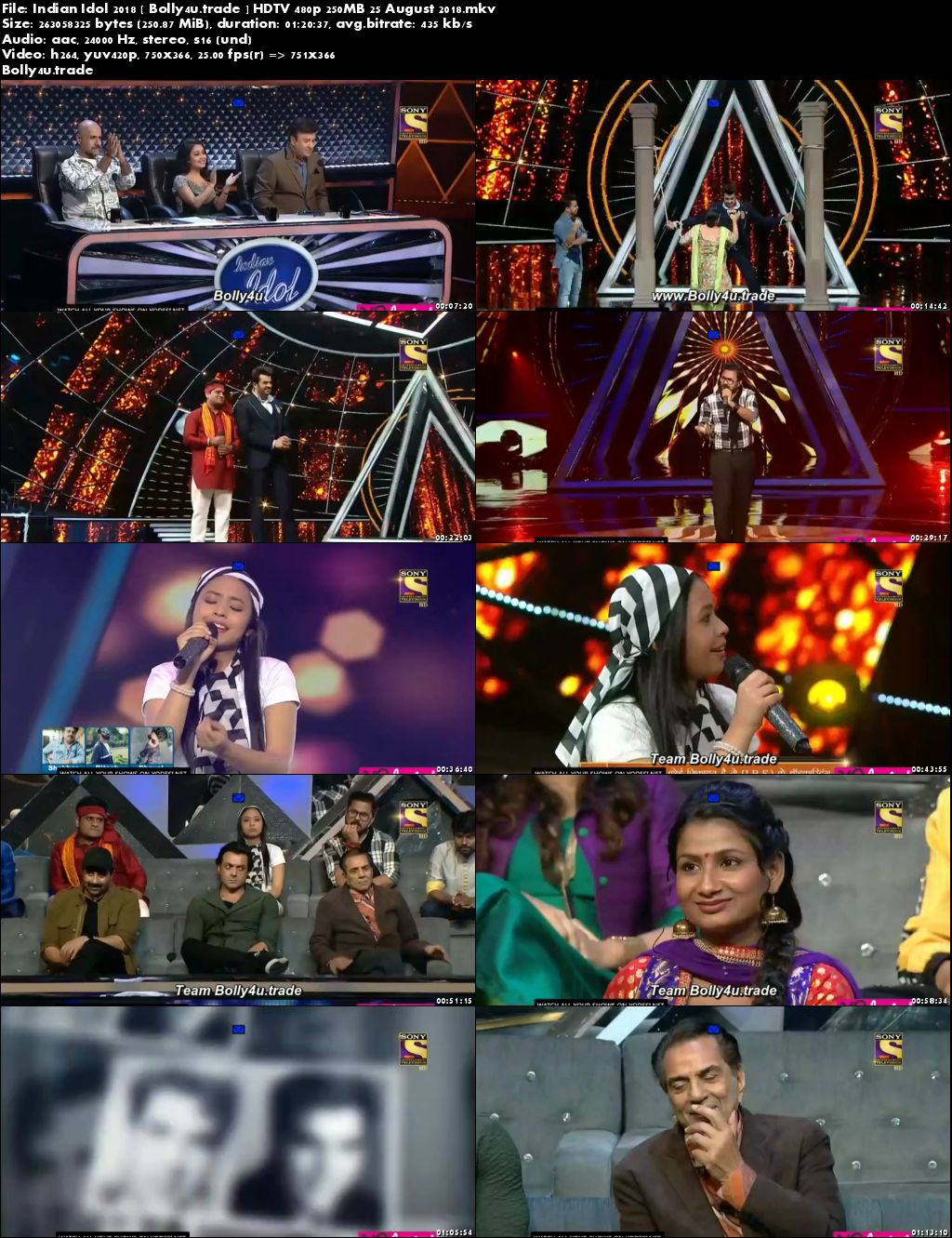 Indian Idol 2018 HDTV 480p 250MB 25 August 2018 Download