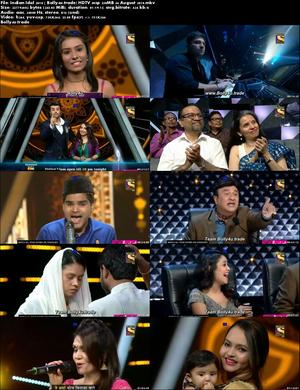 Indian Idol 2018 HDTV 480p 250MB 26 August 2018 Download
