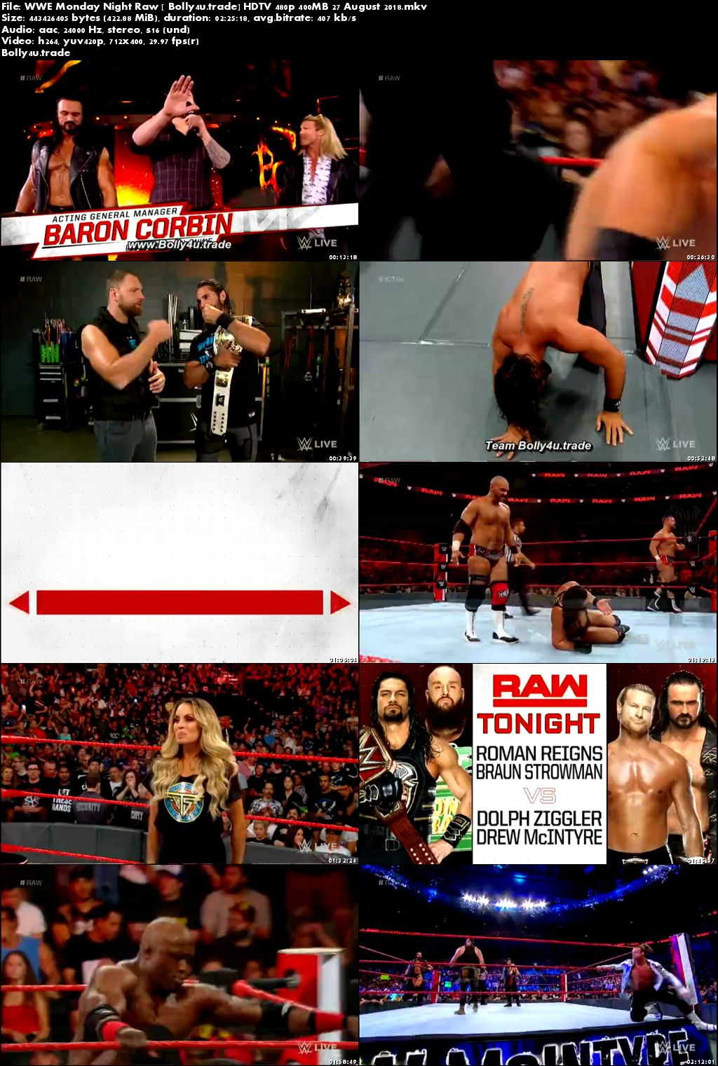 WWE Monday Night Raw HDTV 480p 400MB 27 August 2018 Download