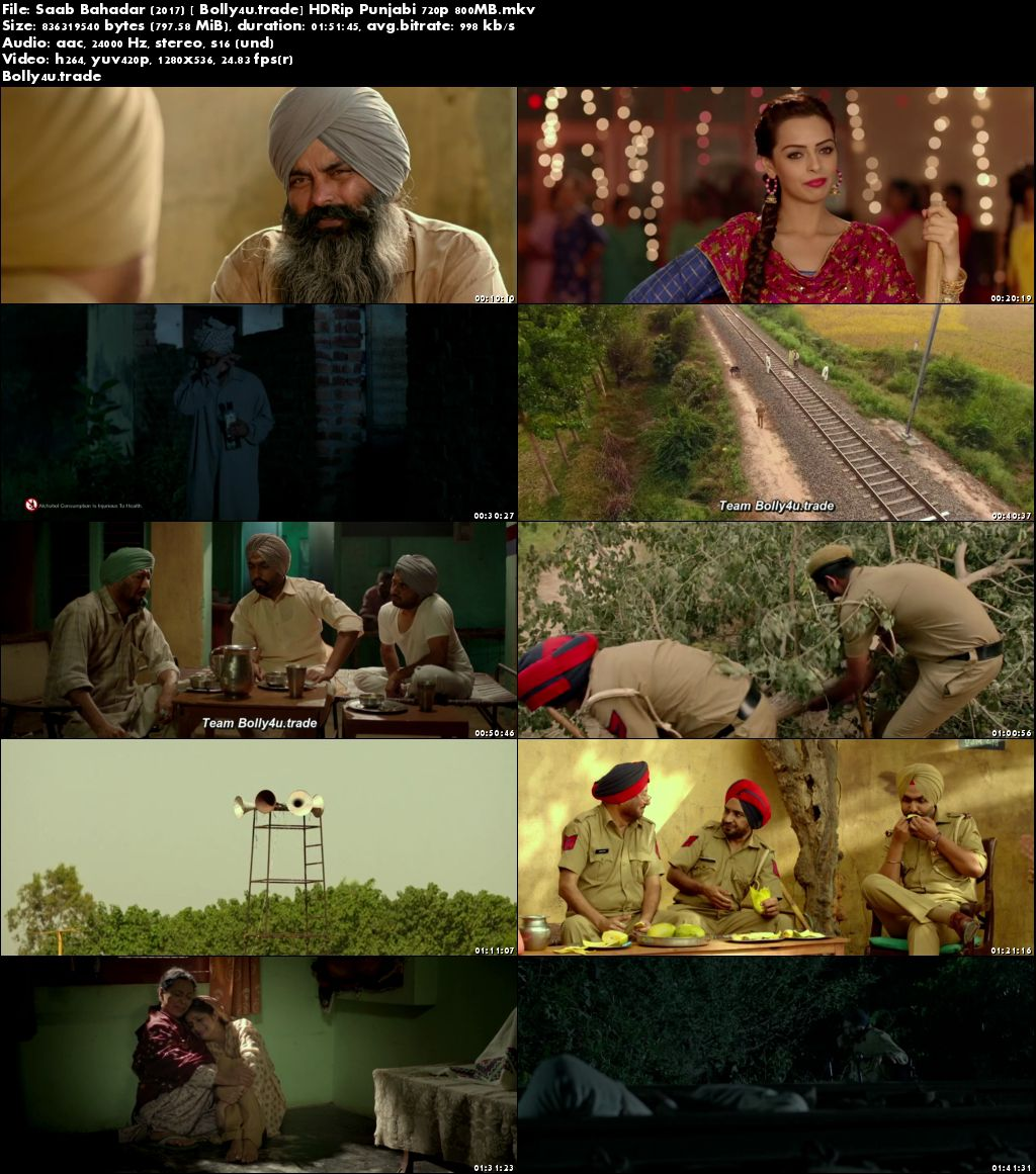 Saab Bahadar 2017 HDRip 800Mb Full Punjabi Movie Download 720p