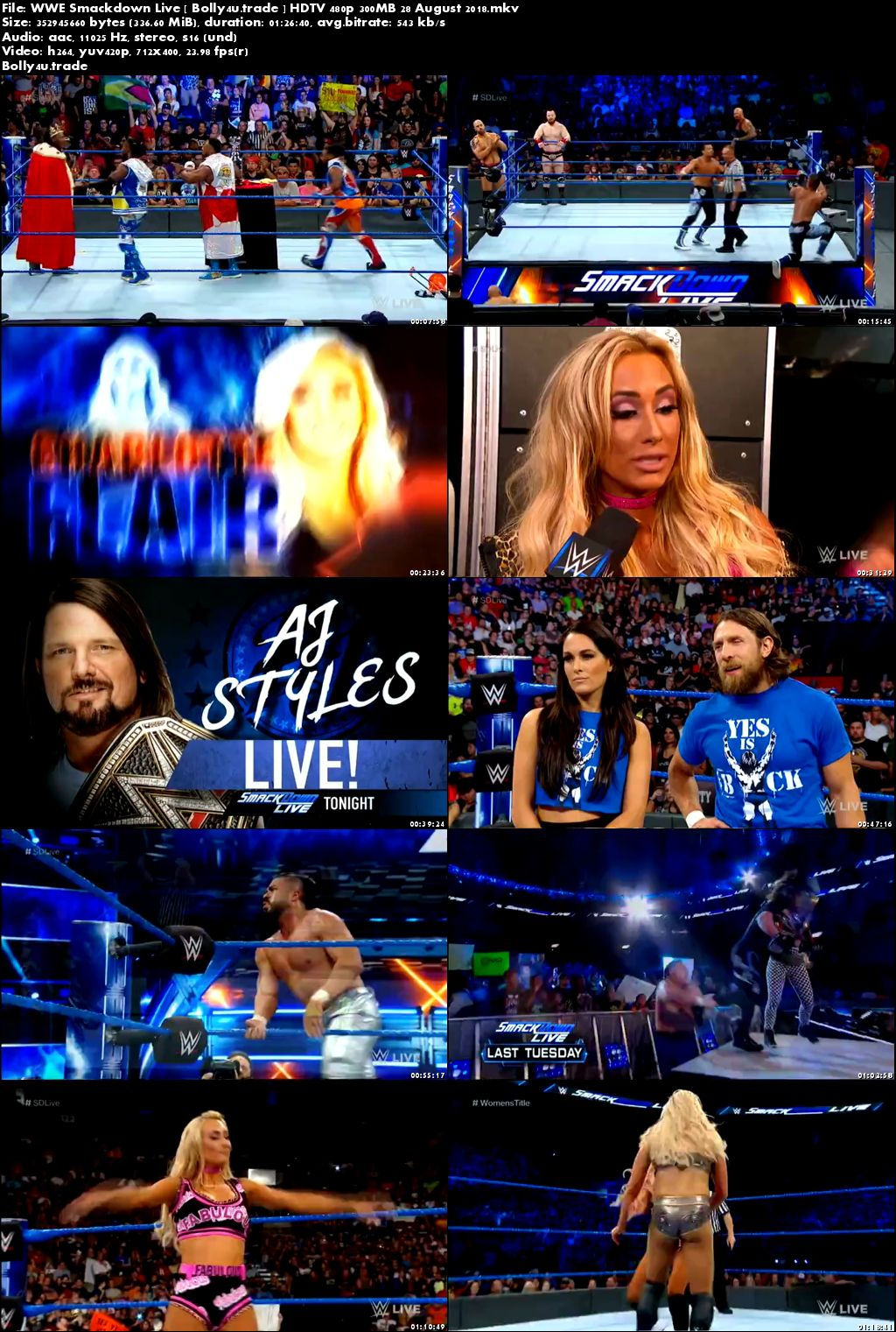 WWE Smackdown Live HDTV 480p 300MB 28 August 2018 Download