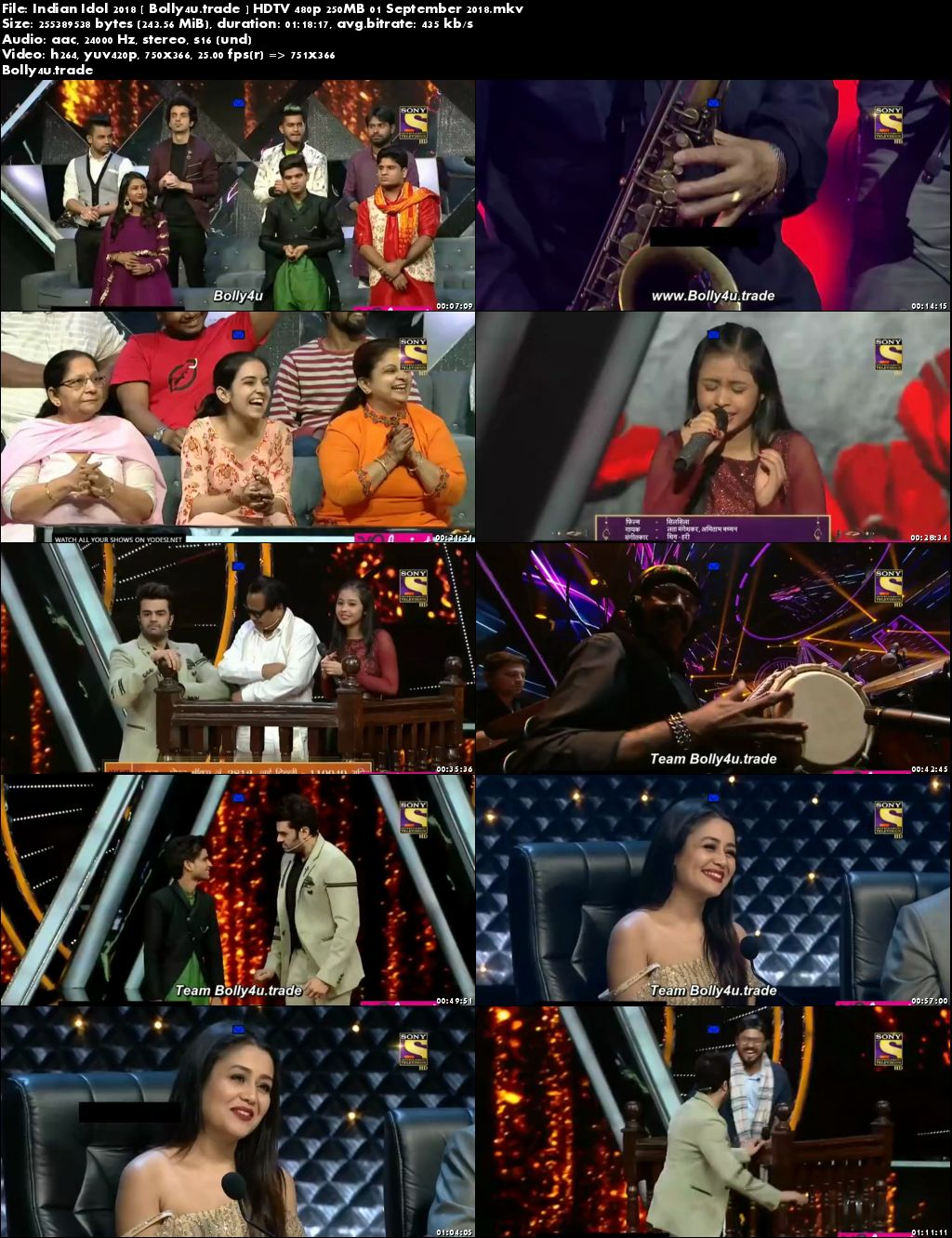 Indian Idol 2018 HDTV 480p 250MB 01 September 2018 Download