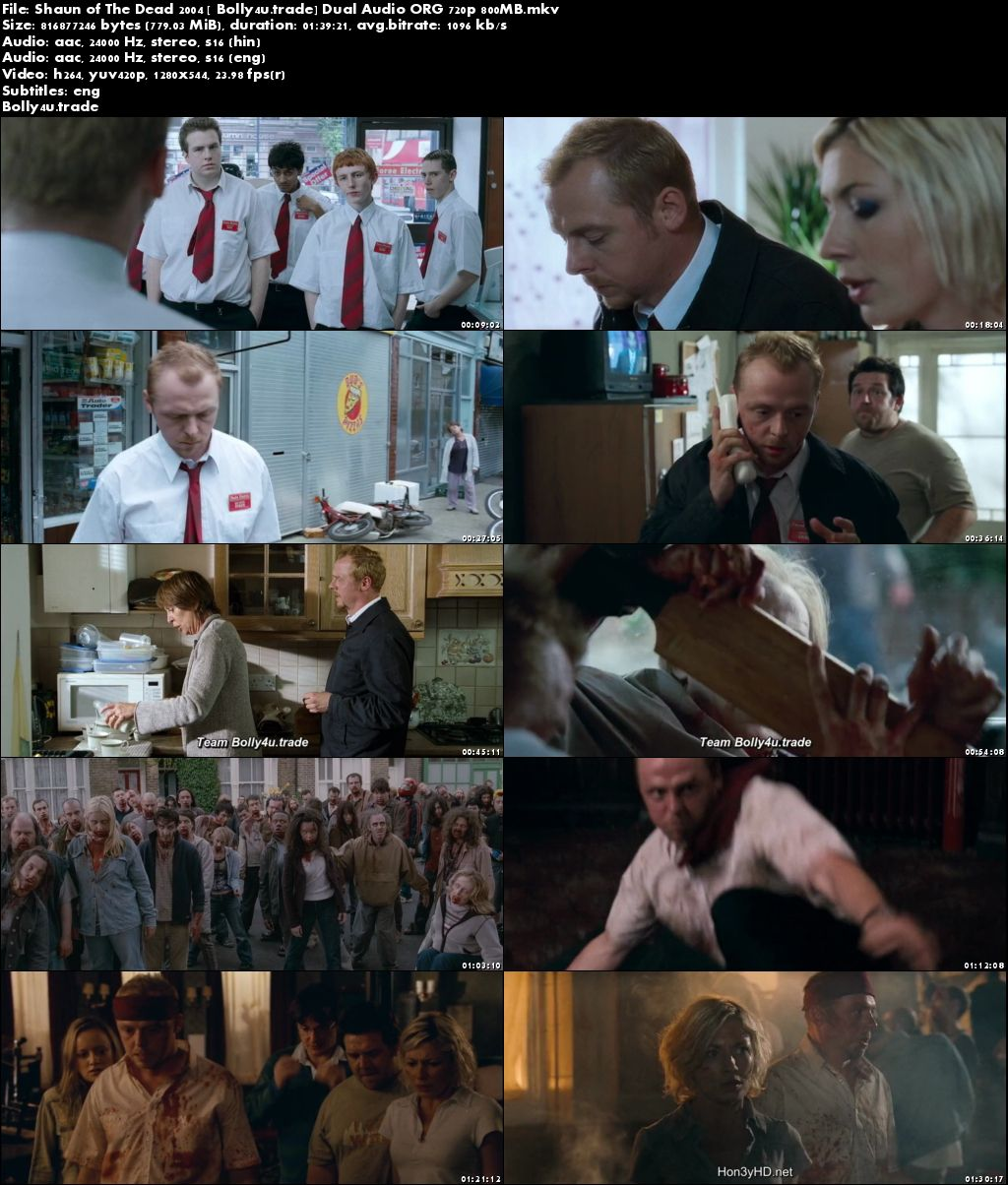 Shaun of The Dead 2004 BluRay 800MB Hindi Dual Audio ORG 720p Download